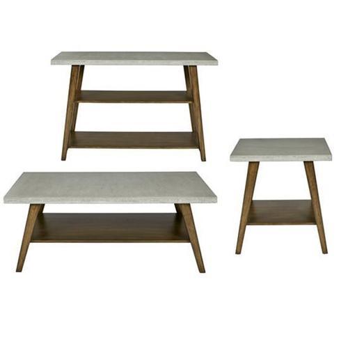 Sofa/Console Table - Concrete Gray/Auburn Finish
