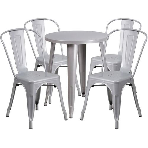 Alamont Furniture - 24'' Round Silver Metal Indoor-Outdoor Table Set with 4 Cafe Chairs