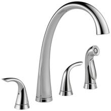 Chrome Two Handle Widespread Kitchen Faucet with Spray
