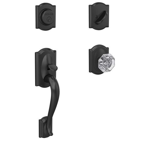Custom Camelot Inactive Handleset with Alexandria Glass Knob and Camelot Trim - Matte Black