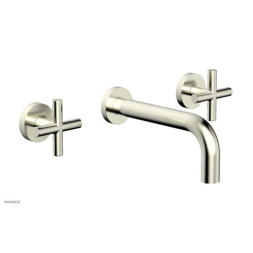 """Phylrich - TRANSITION - Wall Lavatory Set 7 1/2"""" Spout - Cross Handles 120-11 - Satin Nickel"""