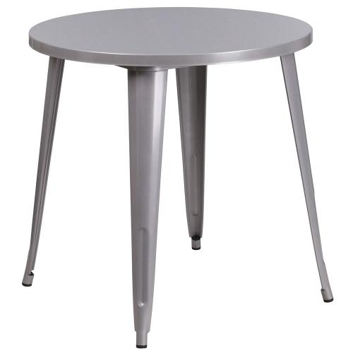 30'' Round Silver Metal Indoor-Outdoor Table