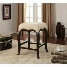 "ACME Kakabel Counter Height Stool (1Pc) - 96614 - Cream Fabric & Espresso - 24"" Seat Height"