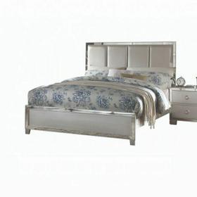 ACME Voeville II Eastern King Bed (Padded HB) - 24827EK - Platinum PU & Platinum