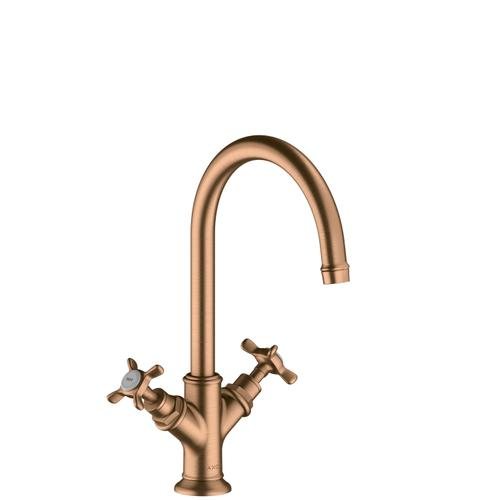 Brushed Bronze 2-handle basin mixer 210 with cross handles and waste set