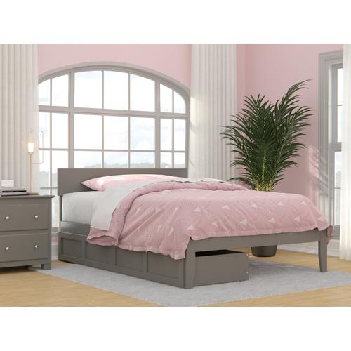 Atlantic Furniture - Boston Full Bed with 2 Drawers in Grey