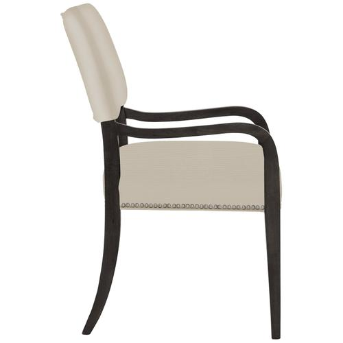 Moore Arm Chair in Midnight Black Finishes Available Glacier White (WW1) Midnight Black (BW1) Weathered Greige (GW1) Nailhead Finish Shown #13 Bright Nickel