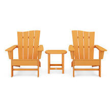 View Product - Wave 3-Piece Adirondack Chair Set in Tangerine