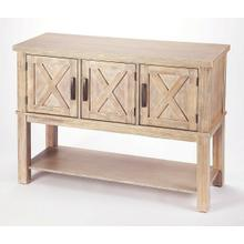 Bring a bit of countryside into you entertaining with this storage buffet. Crafted in Acacia wood and Natural Birch veneers; the exterior door panels are enhanced by the updated X design. Offering you both storage and function in one beautiful addition to your room. The bottom shelf is yours to fill with those special pieces to share with all to view.