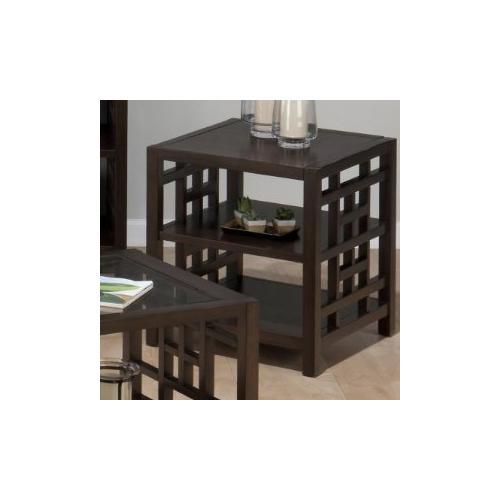 End Table W/ 2 Shelves and Veneer Top
