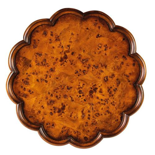 Selected solid woods and choice ash burl veneers. Four-way matched veneer top with pie crust frame. Resin appliques.