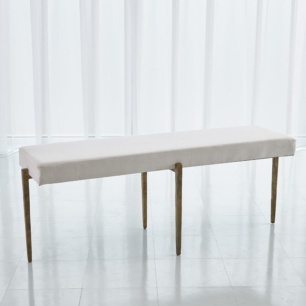 See Details - Laforge Bench-Antique Gold w/Muslin Cushion-Lg