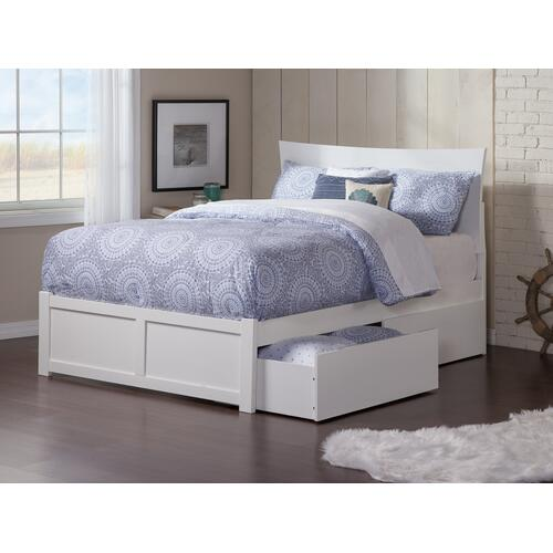 Metro Full Flat Panel Foot Board with 2 Urban Bed Drawers White