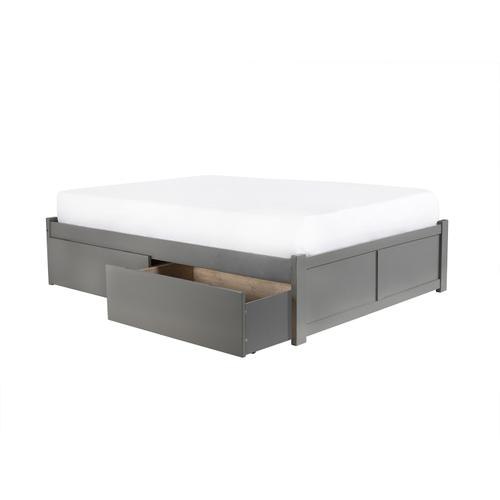 Concord King Flat Panel Foot Board with 2 Urban Bed Drawers Atlantic Grey