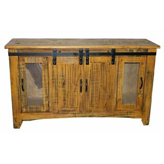 """See Details - 60"""" Tobacco Tv/buffet W/ Sliding Doors"""