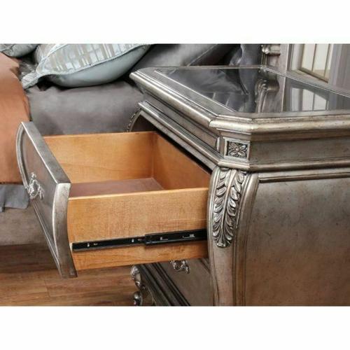 ACME Chantelle Nightstand w/Granite Top - 20543 - Antique Platinum