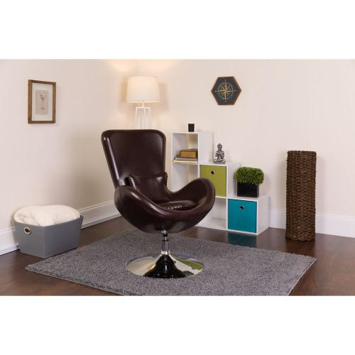 Brown Leather Side Reception Chair