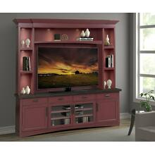 AMERICANA MODERN - CRANBERRY 92 in. TV Console with Hutch, Backpanel and LED Lights