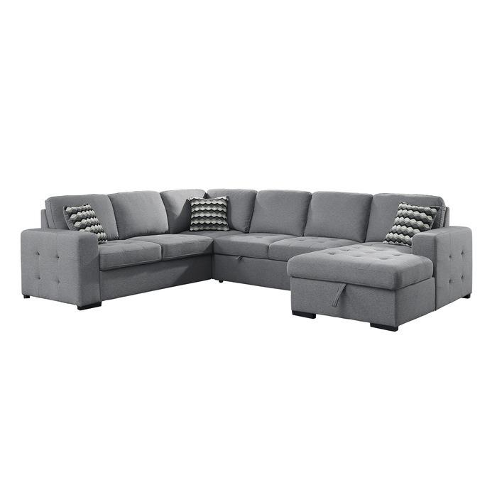 4-Piece Sectional with Pull-out Bed and Hidden Storage