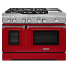 See Details - 48'' 6-Burner with Griddle, Dual Fuel Freestanding Range, Commercial-Style Signature Red