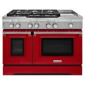 48'' 6-Burner with Griddle, Dual Fuel Freestanding Range, Commercial-Style Signature Red