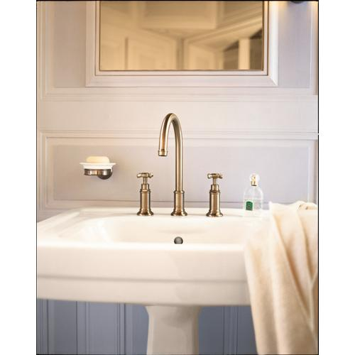 Brushed Nickel Widespread Faucet 180 with Cross Handles and Pop-Up Drain, 1.2 GPM