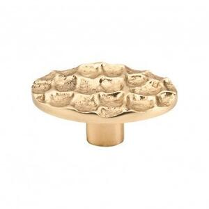 Cobblestone Oval Knob 2 5/8 Inch - Polished Brass