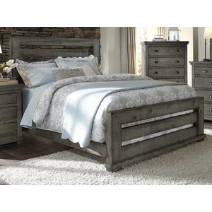 6/6 King Slat Bed - Distressed Dark Gray Finish