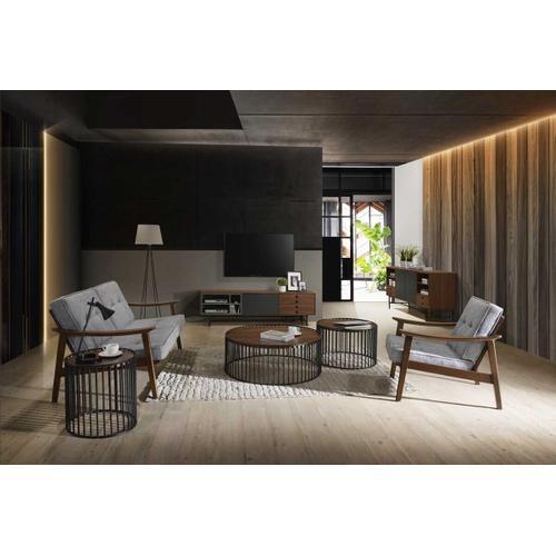 VIG Furniture - Modrest Bronson Modern Walnut & Black Round Tea Table