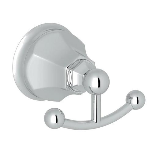 Palladian Wall Mount Double Robe Hook - Polished Chrome