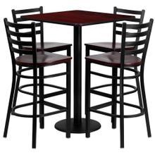 See Details - 30'' Square Mahogany Laminate Table Set with 4 Ladder Back Metal Barstools - Mahogany Wood Seat