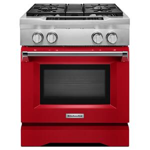30'' 4-Burner Dual Fuel Freestanding Range, Commercial-Style Signature Red - SIGNATURE RED