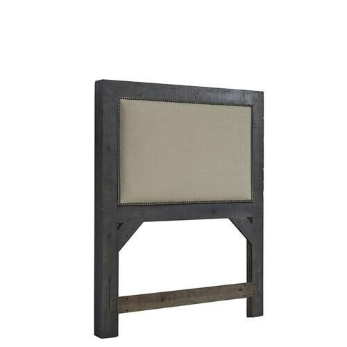 3/3 Upholstered Twin Headboard - Distressed Dark Gray Finish