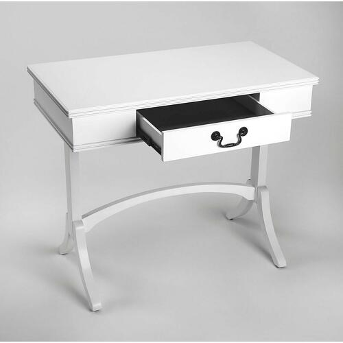Whether you work from home, need designated area for crafts, or just a place to keep your computer, this desk is an ideal anchor for your work space. A single drawer with an antique brass finished pull offers space to store workday essentials. Crafted fro
