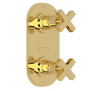 Lombardia 1/2 Inch Thermostatic and Diverter Control Trim - Unlacquered Brass with Cross Handle