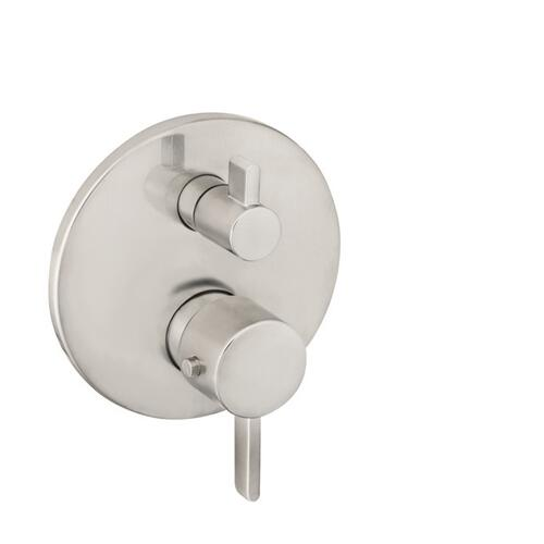 Brushed Nickel Thermostatic Trim S with Volume Control and Diverter