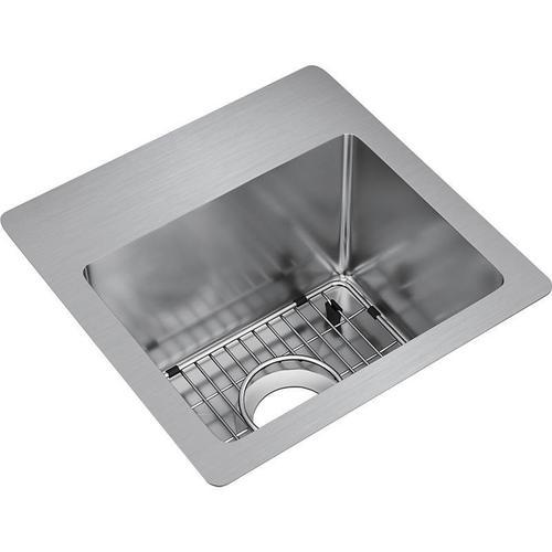 """Elkay Crosstown Stainless Steel 15"""" x 15"""" x 9"""", Single Bowl Dual Mount Sink Kit"""