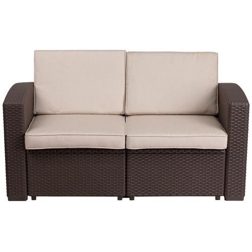 Chocolate Brown Faux Rattan Loveseat with All-Weather Beige Cushions