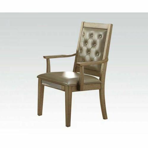 Acme Furniture Inc - ACME Voeville Arm Chair (Set-2) - 61003 - Matte Gold PU & Antique Silver