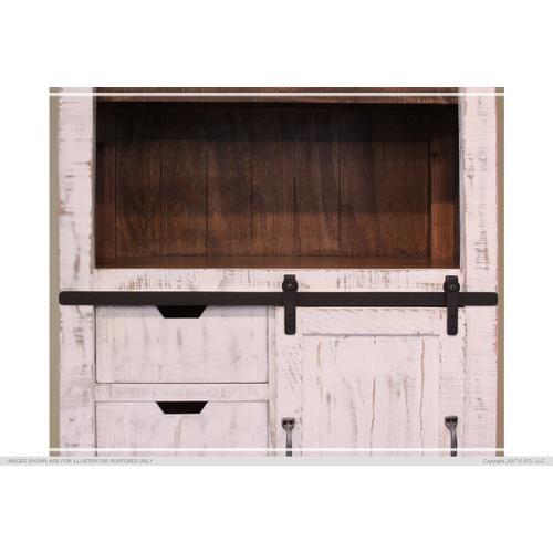 "70"" Bookcase w/3 drawers, 1 Sliding door & 1 Wooden middle Shelf - White finish"