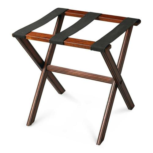Perfect for any bedroom or walk-in closet, this luggage rack is ready when needed. The Plantation Cherry finished solid wood frame features elegant carving on the stretcher base and legs with three heavy duty cloth straps. Folds away for convenient storage.