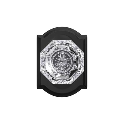 Custom Alexandria Glass Knob with Camelot Trim Hall-Closet and Bed-Bath Lock - Matte Black