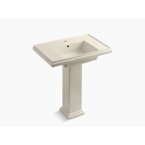 """Almond 30"""" Pedestal Bathroom Sink With Single Faucet Hole"""
