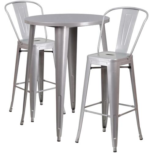 30'' Round Silver Metal Indoor-Outdoor Bar Table Set with 2 Cafe Stools
