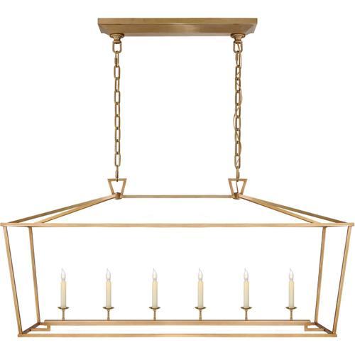 - E. F. Chapman Darlana 6 Light 54 inch Antique-Burnished Brass Linear Lantern Ceiling Light, Large