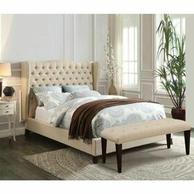ACME Faye California King Bed - 20644ACK - Beige Linen & Espresso