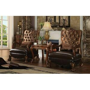 ACME Dresden Chair w/1 Pillow - 52097 - Golden Brown Velvet & Cherry Oak