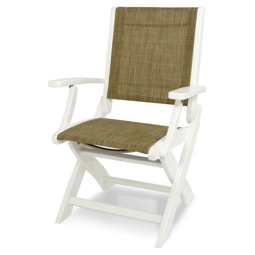 White & Burlap Coastal Folding Chair