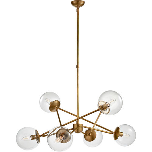 AERIN Turenne 6 Light 34 inch Hand-Rubbed Antique Brass Dynamic Chandelier Ceiling Light, Large