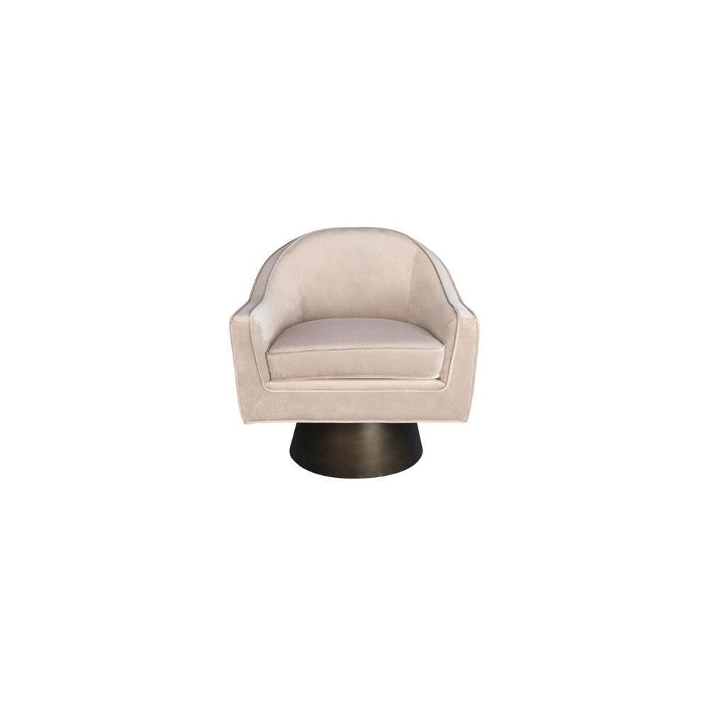 Modern Swivel Chair With Bronze Base In Blush Velvet